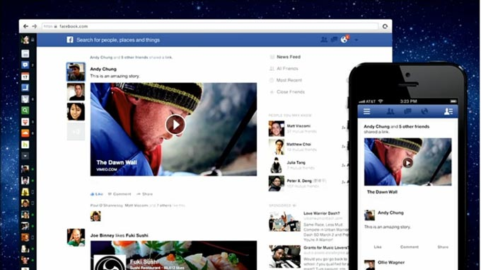 facebook new feed layout