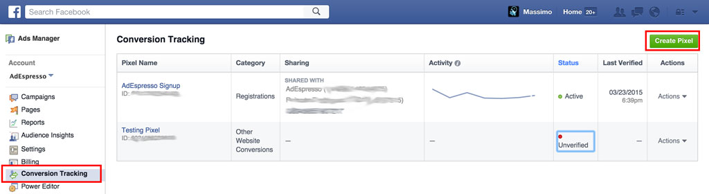 Facebook Ads Conversion Pixel Create