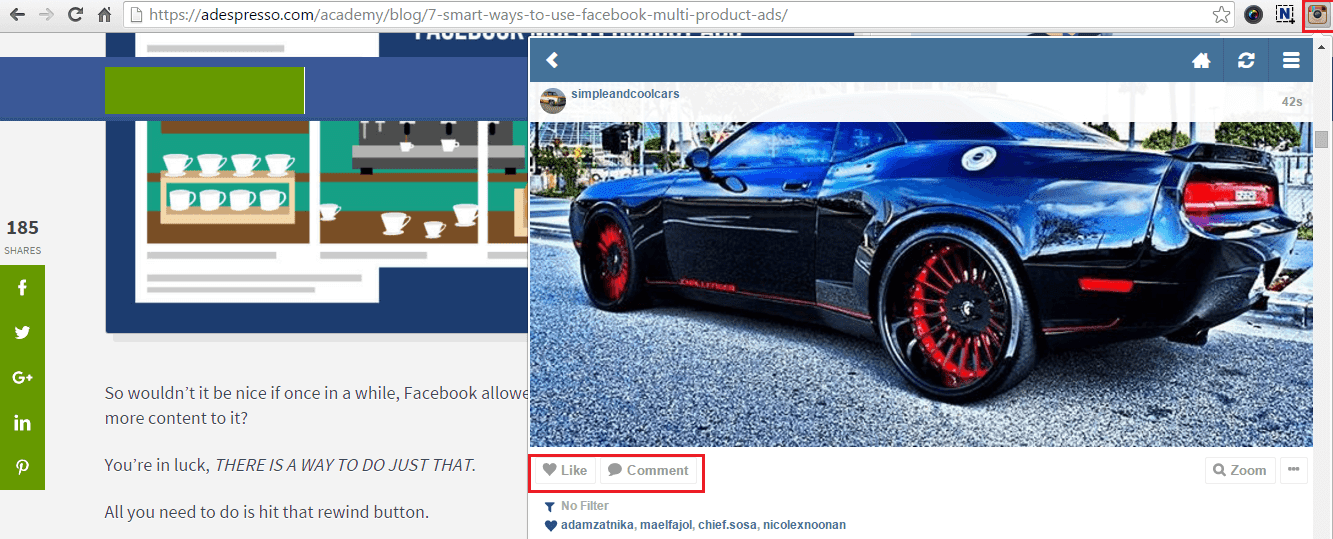 Instagram extension for Chrome