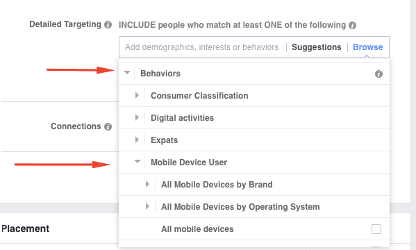 Mobile device user targeting