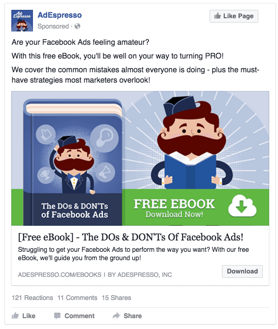example of a facebook lead ad