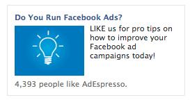AdEspresso facebook like campaign