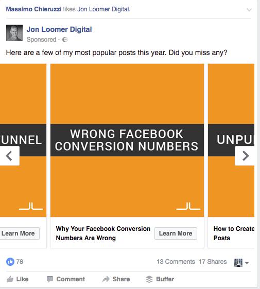 Facebook carousel ad tip