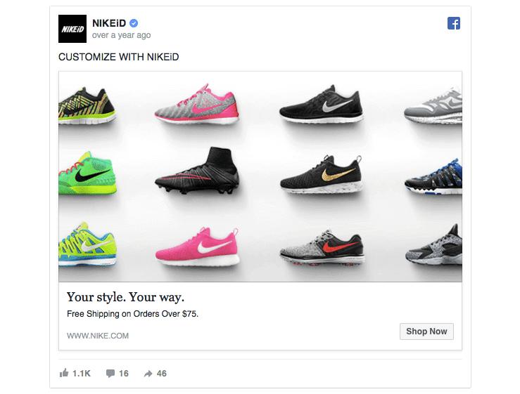 Facebook ad tip Nike