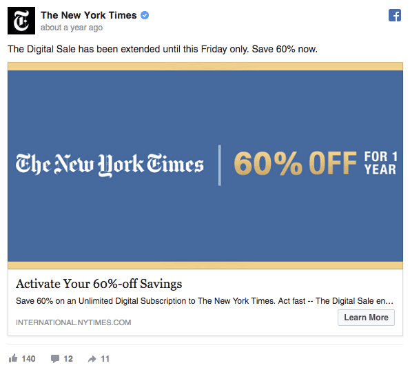 NYT Facebook ad example