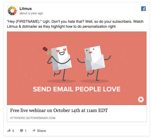 itmus facebook ad example