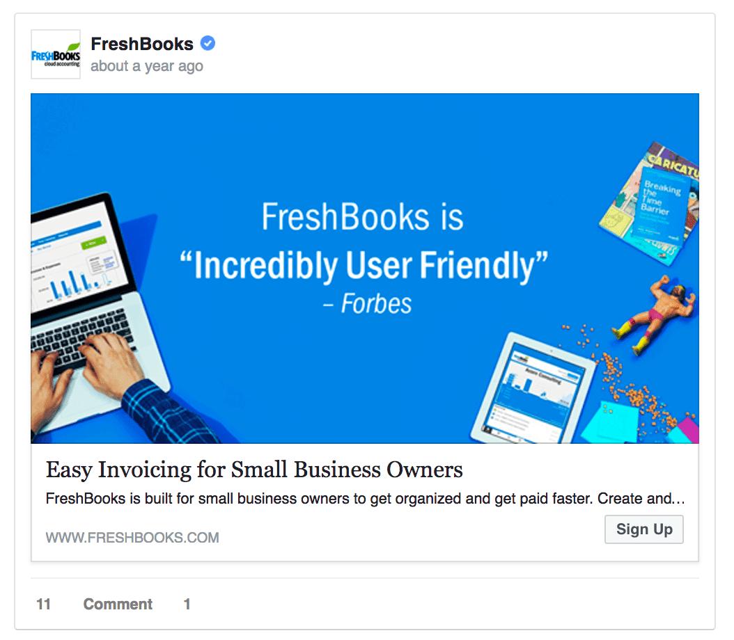 Freshbooks Facebook ad