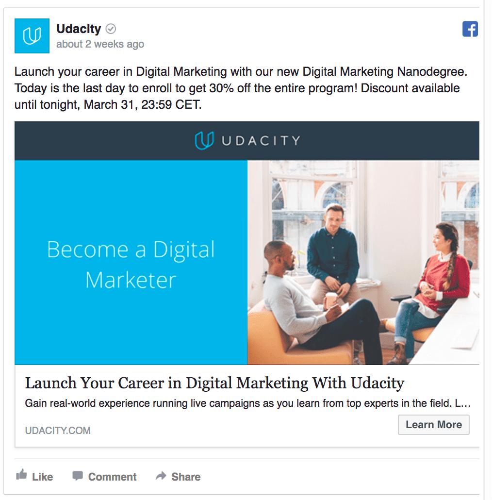 udacity facebook ad
