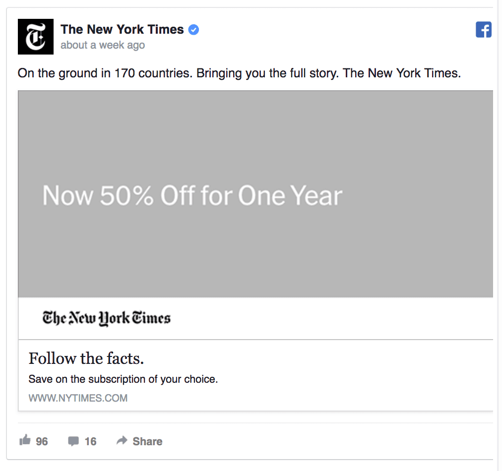 new york times facebook ad