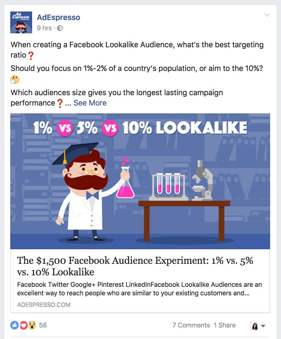 AdEspresso emoji facebook ad