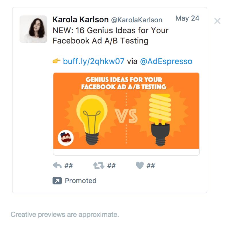 adespresso twitter ad example