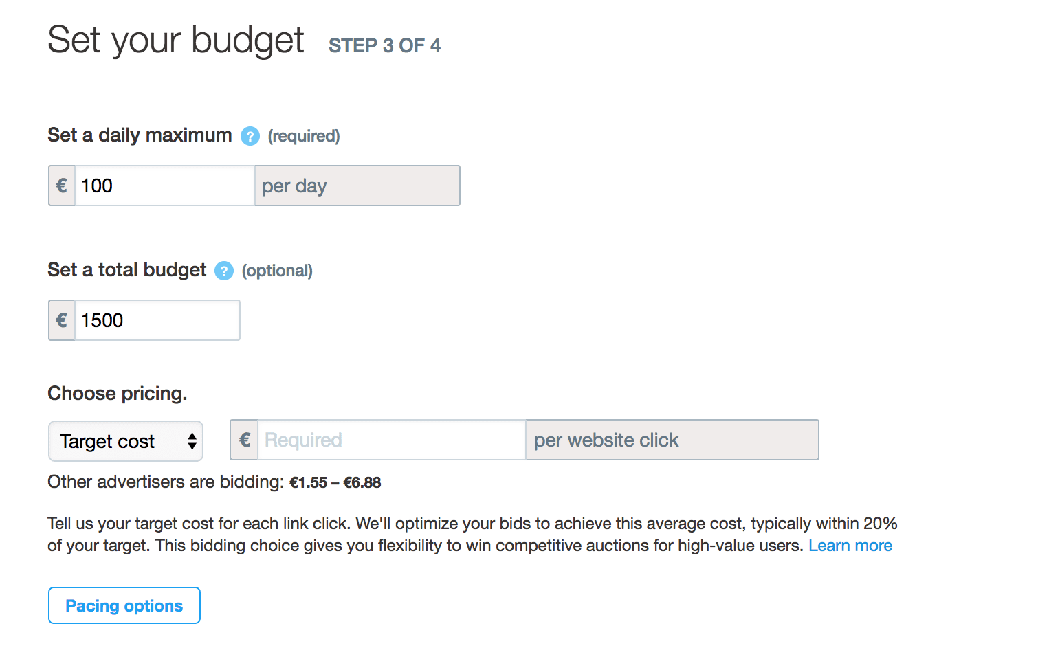 twitter ad budgeting