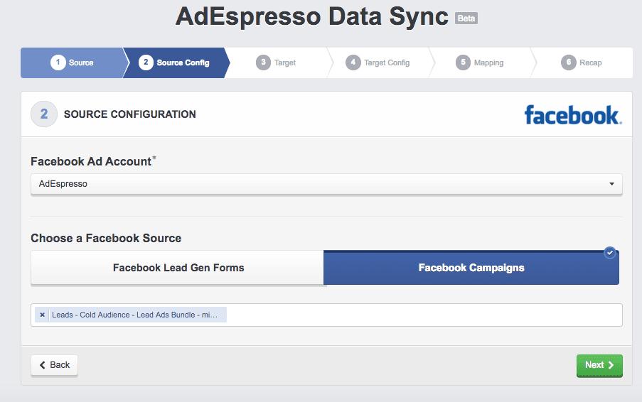 AdEspresso data sync lead generation dashboard on Facebook