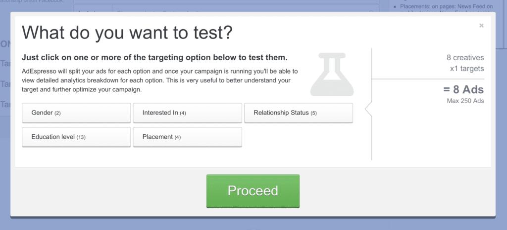 a/b testing facebook