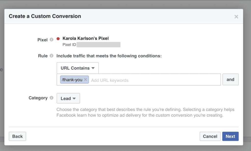 create a custom conversion in facebook pixel