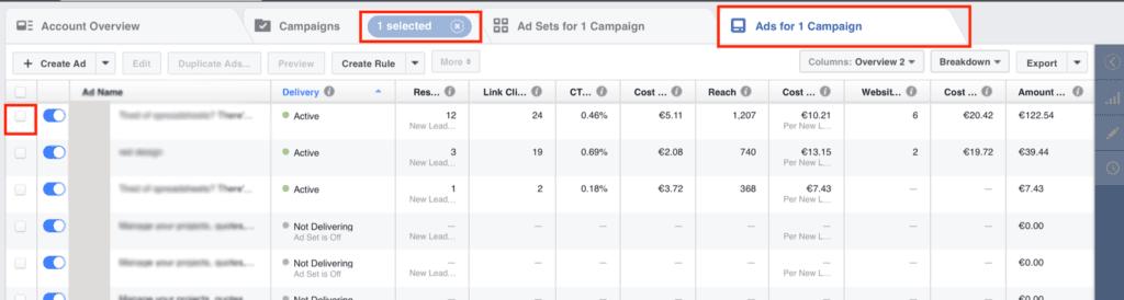 facebook advertising manager dashboard