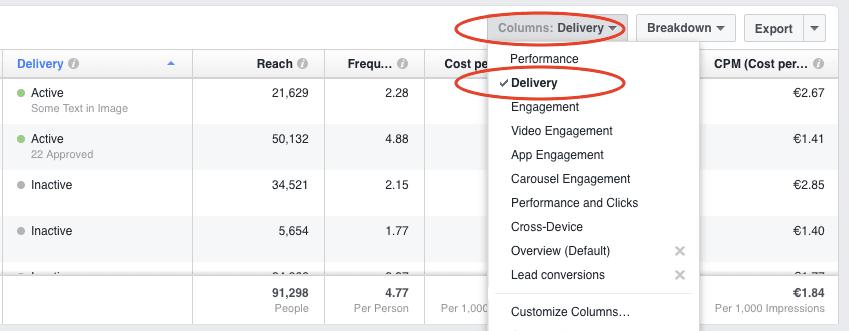 facebook ad delivery