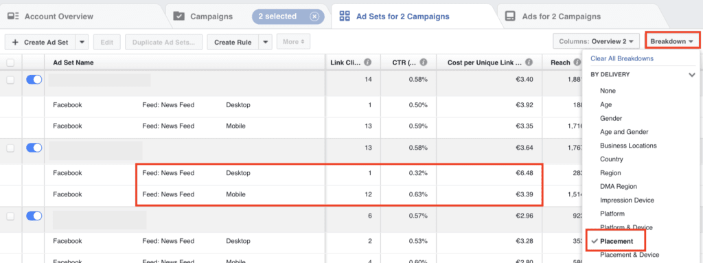 facebook ad manager dashboard