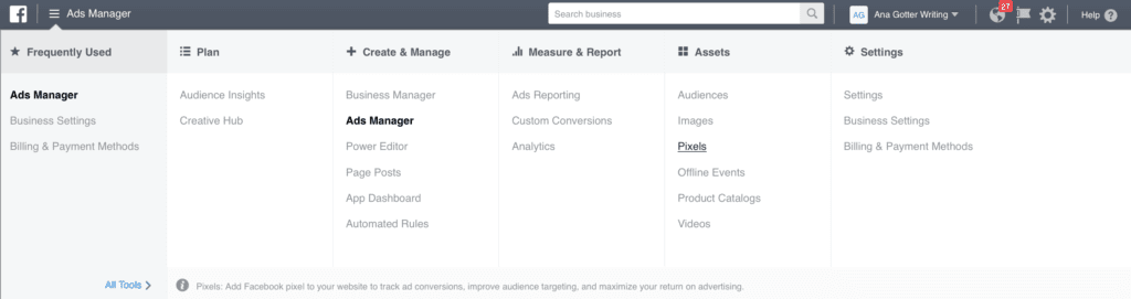 """Facebook's business manager showing the """"Ads Manager"""" highlighted"""