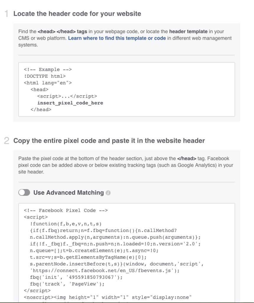 Facebook tracking pixel installation showing the pixel code