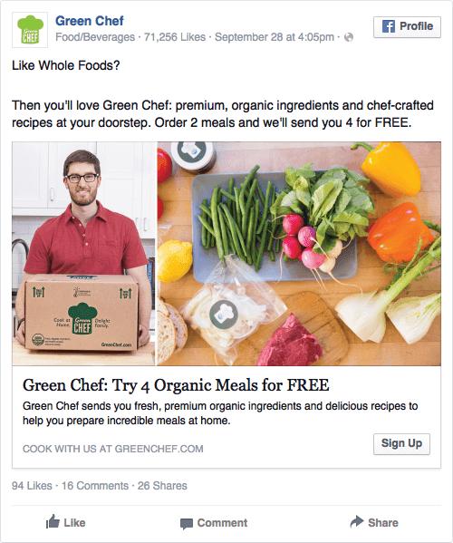 Green Chef facebook ad