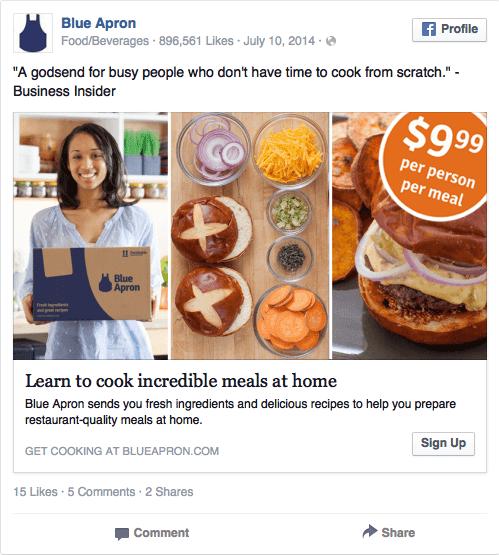 Blue Apron facebook ad