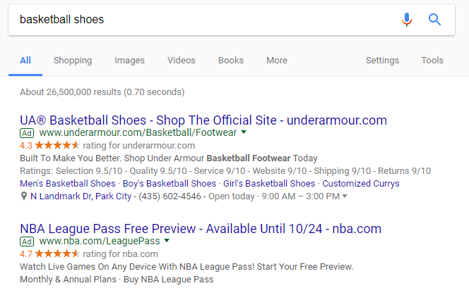 google results for basketball shoes