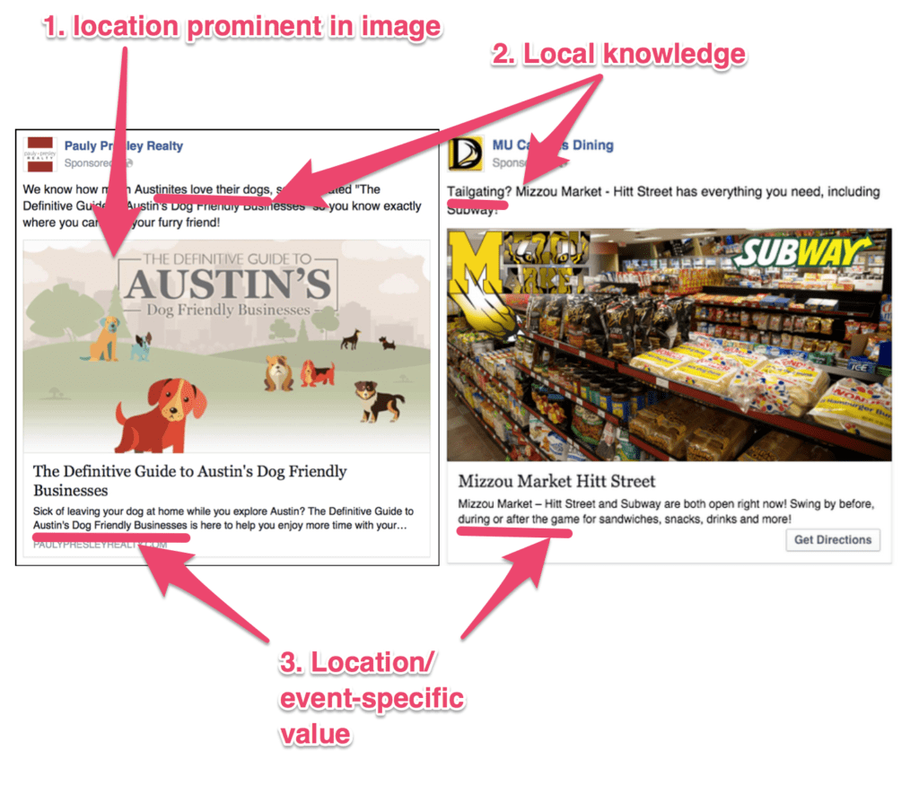 facebook ad template location specific ads