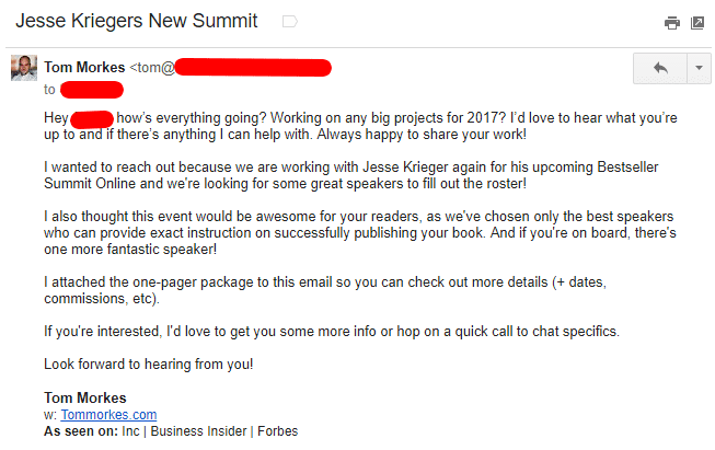 virtual summit pitch email