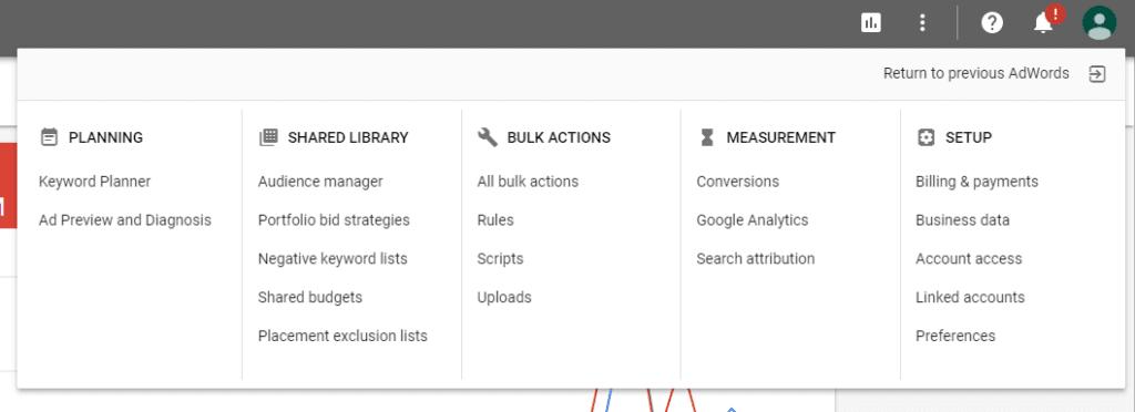 drop down menu Google AdWords latest updates