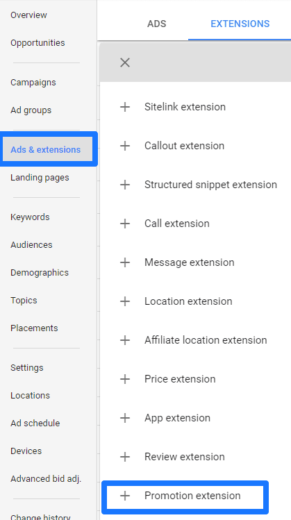 Ads and extensions