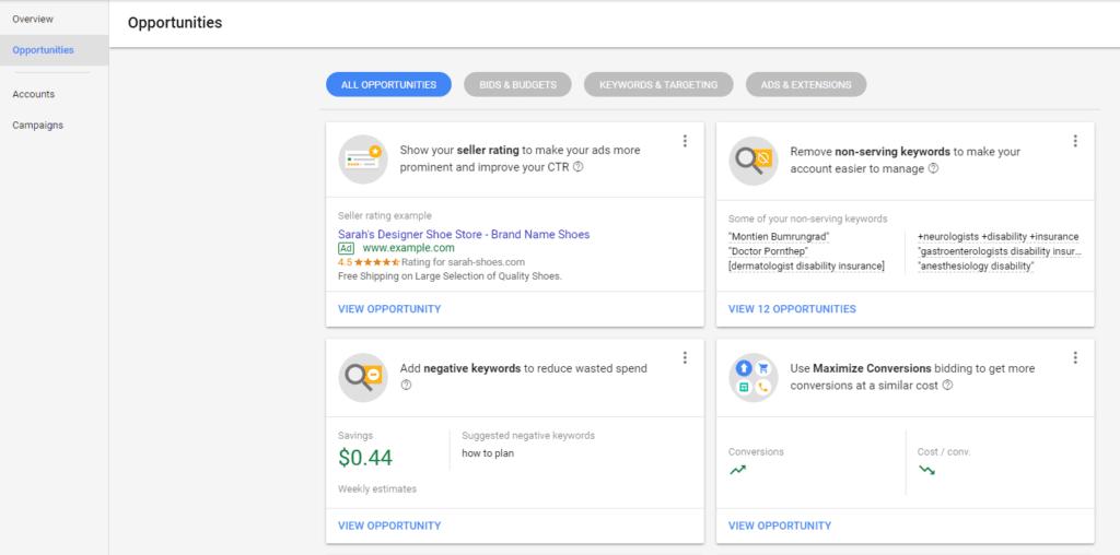 Google AdWords latest updates opportunities