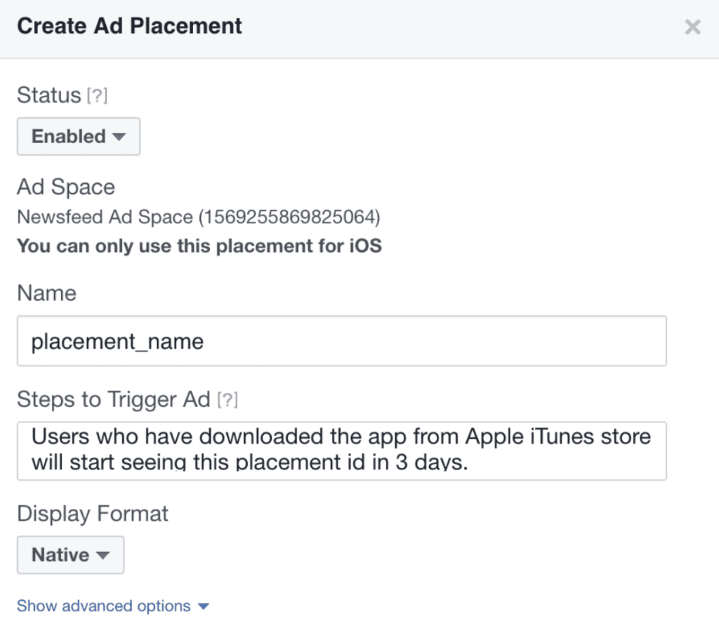 create ad placement on facebook