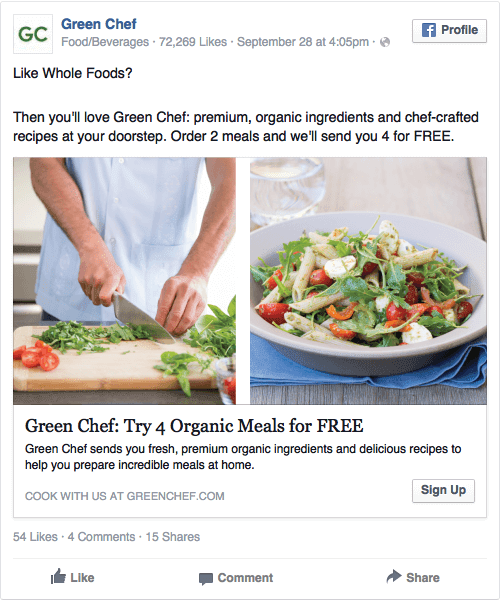 green chef ad on facebook