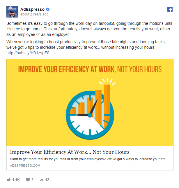 Example AdEspresso Facebook Ad