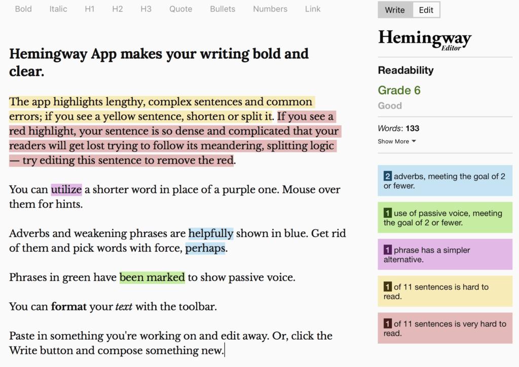 Hemingway tool screenshot