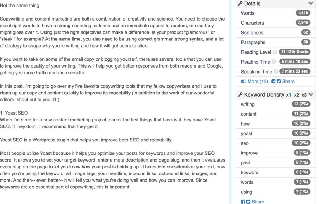 Hemingway copywriting tool example