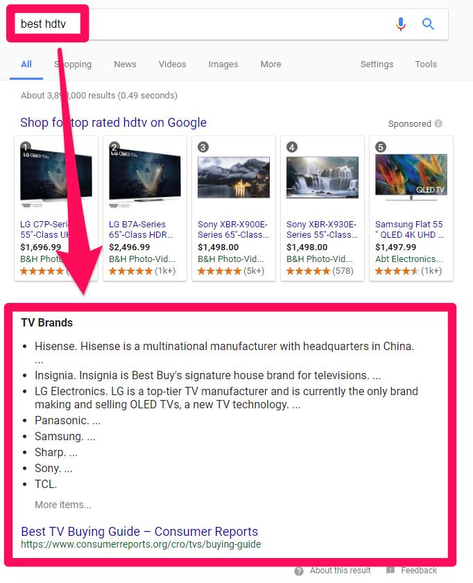 best hdtv search intent example screenshot