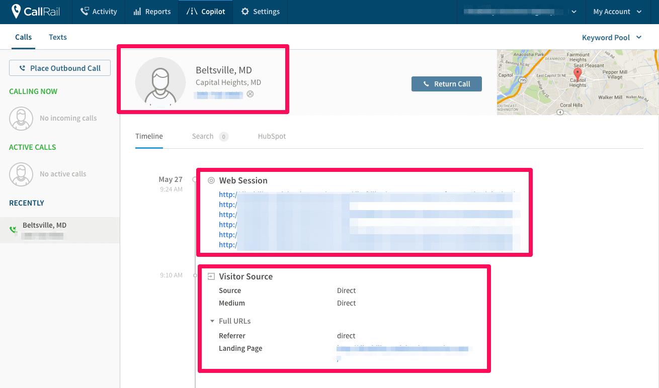 callrail example screenshot