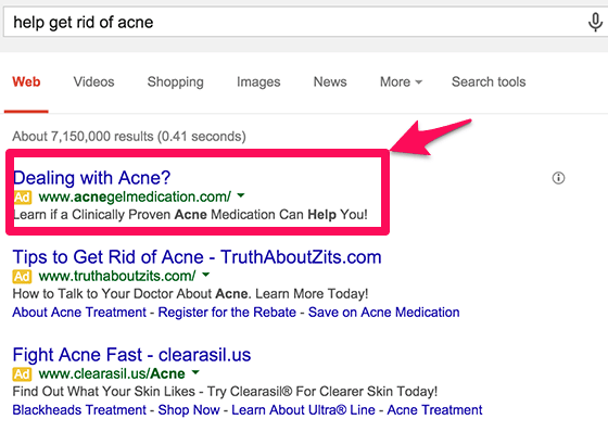 use of a question in google adwords