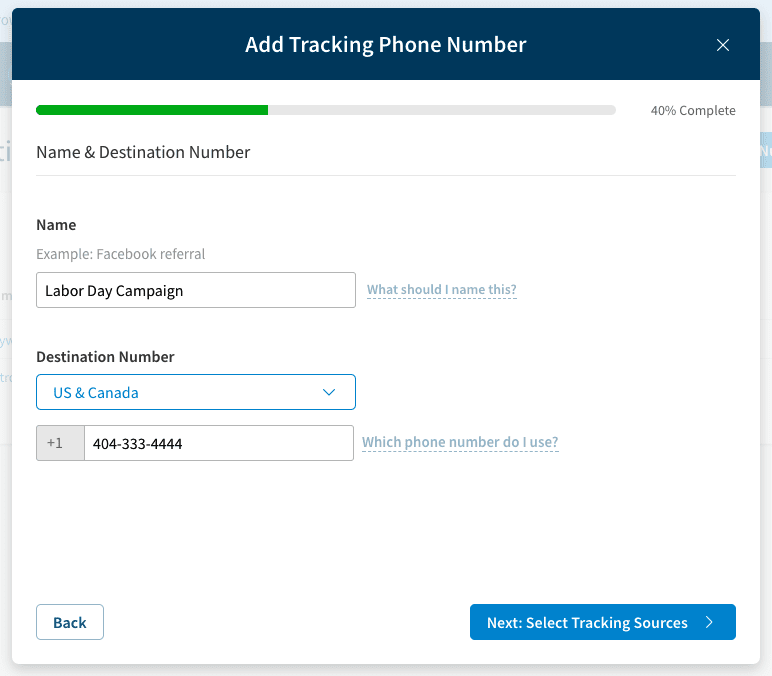 adding a tracking phone number example screenshot on callrail