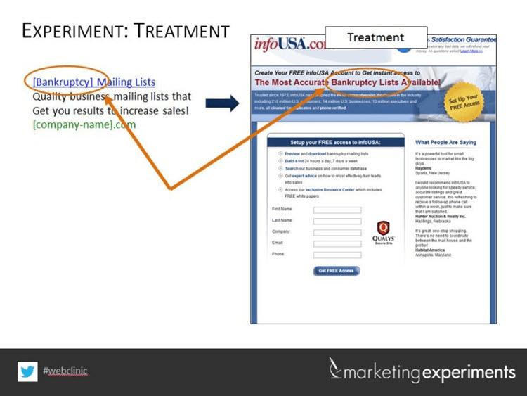 marketing experiment screenshot
