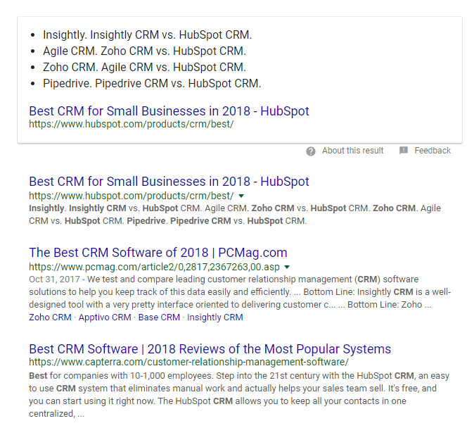Best CRM search results screenshot