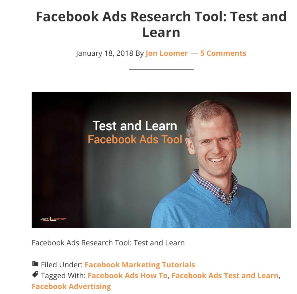 Jon Loomer facebook ads screenshot