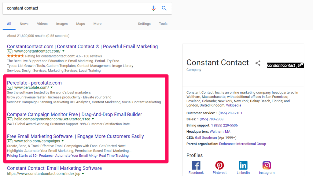 AdWords competitor targeting