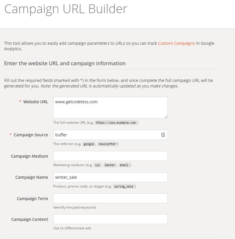Google UTM builder options