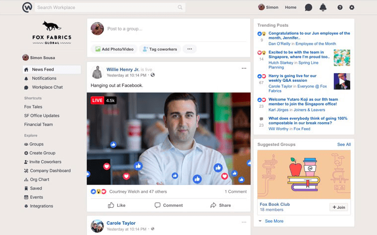 Workplace by Facebook - live video