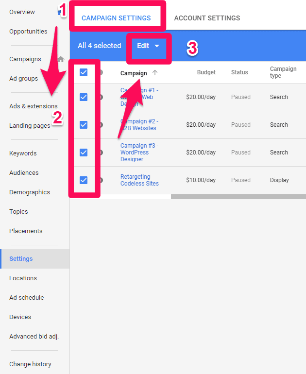 adding tracking templates in adwords