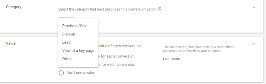 conversion tracking category options