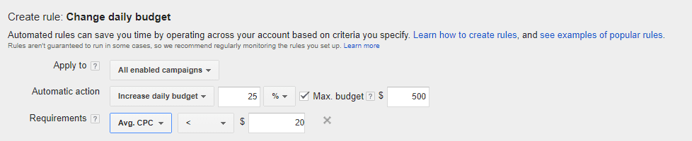 creating daily budget rule